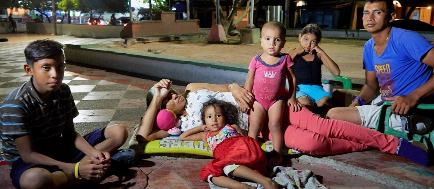 Colombia, gezinnen op straat