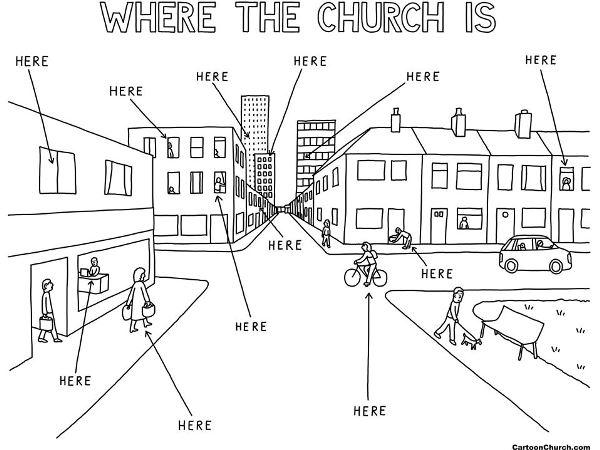 de kerk buiten de kerkmuren